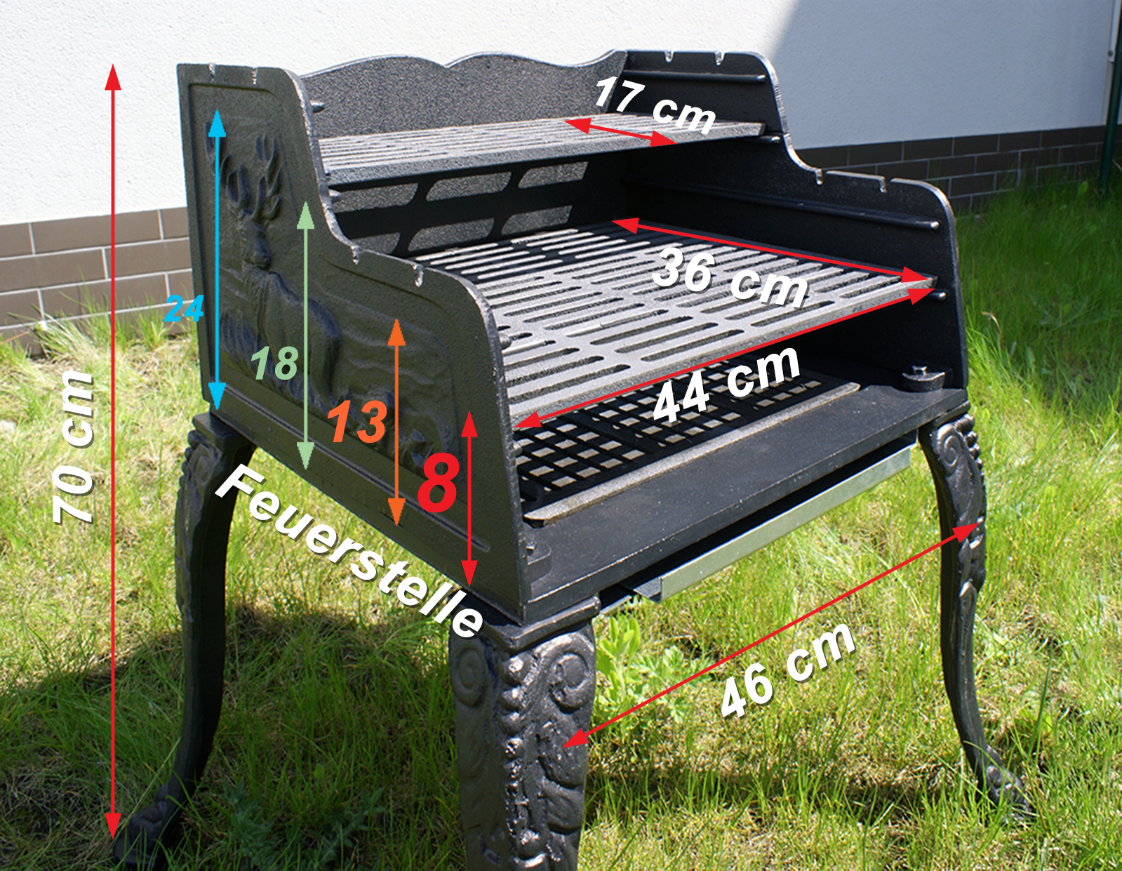 gu eisen grill holzkohle standgrill gartengrill holzkohlegrill barbecue garten ebay. Black Bedroom Furniture Sets. Home Design Ideas