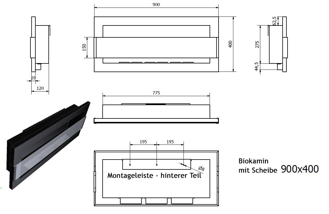 biokamin 900x400mm wandkamin ethanol kamin dekokamin schwarz inox braun scheibe ebay. Black Bedroom Furniture Sets. Home Design Ideas