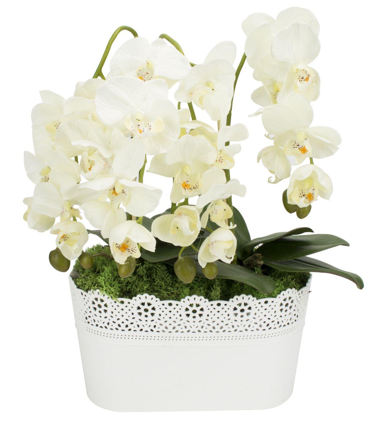 gesteck orchideen wei ecru kunstblumen fensterschmuck blumengesteck tisch deko ebay. Black Bedroom Furniture Sets. Home Design Ideas