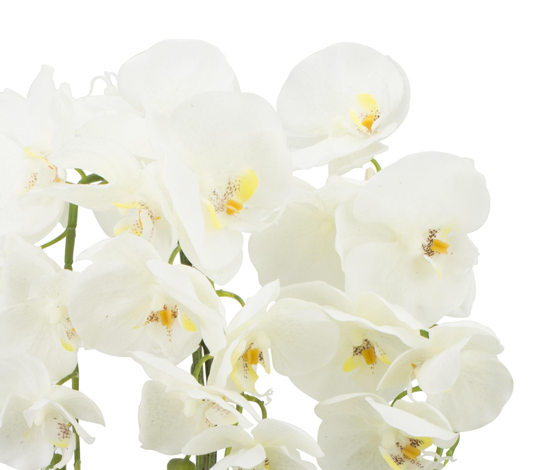 gesteck orchideen wei kunstblumen topf fensterschmuck blumengesteck tisch deko ebay. Black Bedroom Furniture Sets. Home Design Ideas
